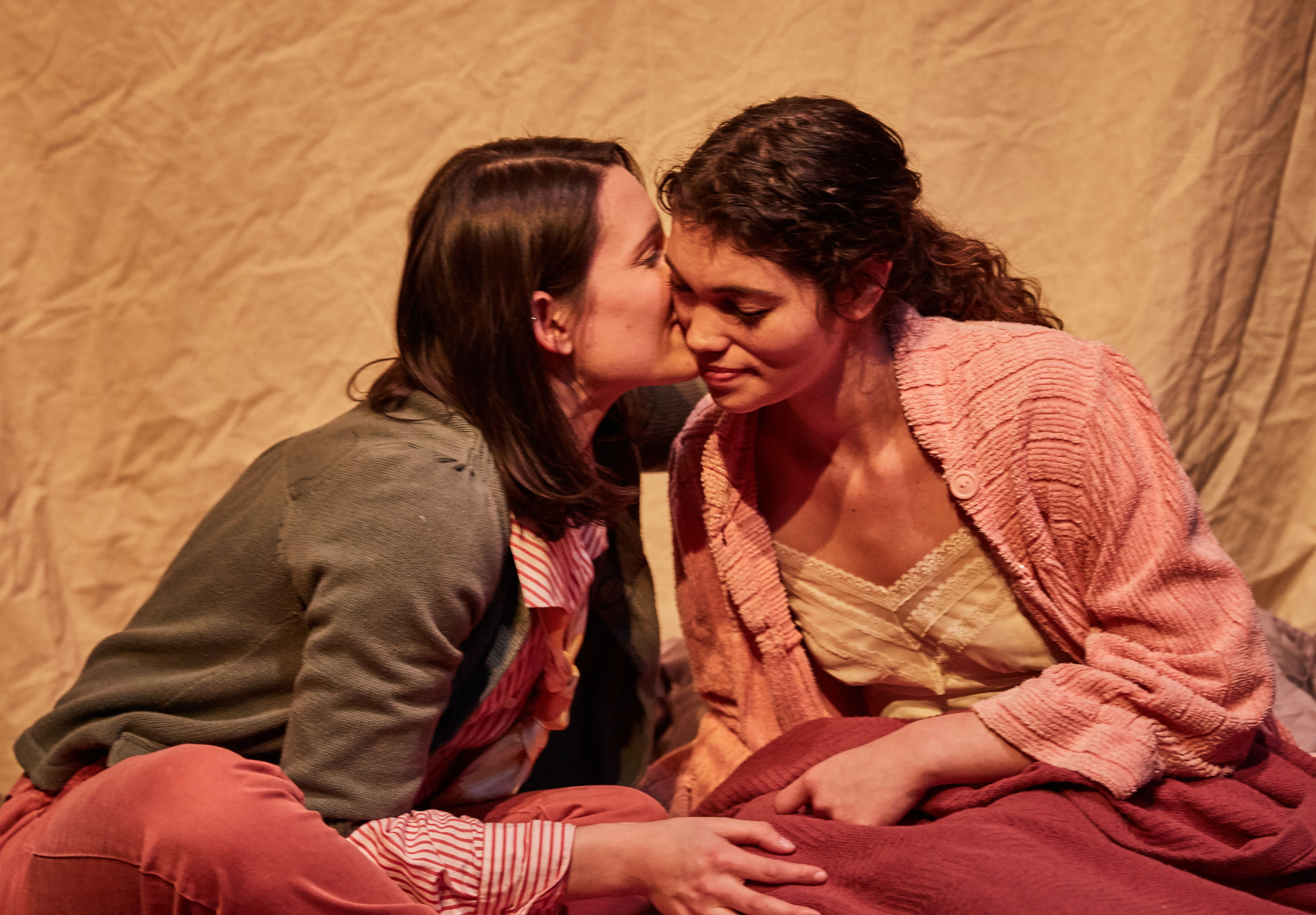 (from left) Kathryn Acosta plays Rainbow and Allyce Torres is Greta in Cuban-American writer María Irene Fornés's Pulitzer-Prize nominated play What of the Night? Chicago's Cor Theater and Stage Left Theatre co-present, and Carlos Murillo directs, Fornés's epic, deeply intimate and never-more-timely mediation about poverty in America, now through February 12, 2017 at Theater Wit, 1229 W. Belmont Ave., Chicago. Tickets and information: cortheatre.org, stagelefttheatre.com or (773) 975-8150. Photo credit: Ian McLaren